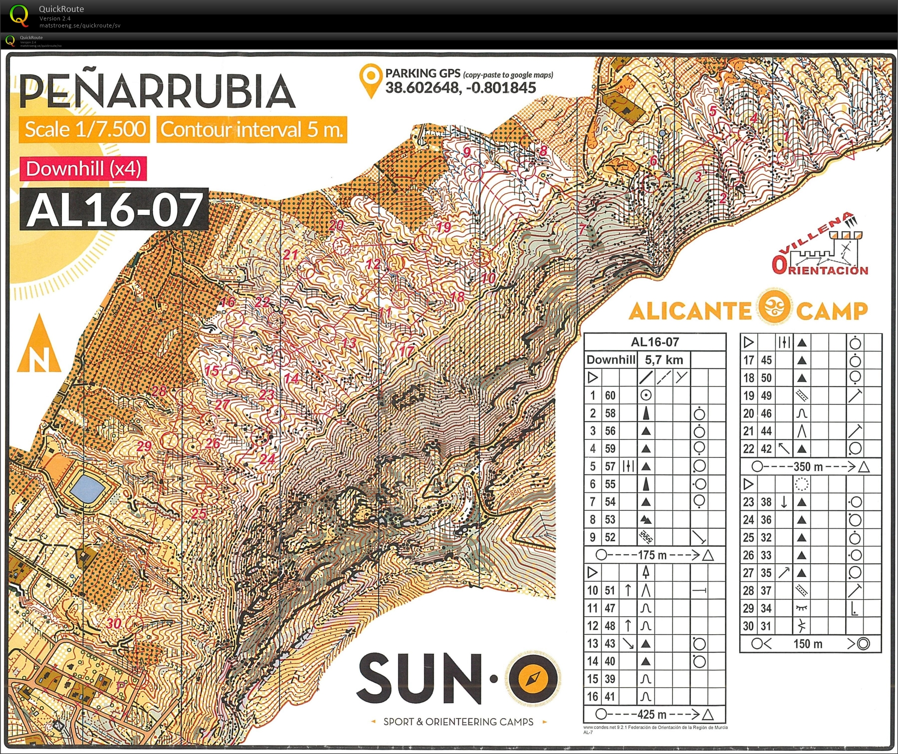 Alicante 17 downhill February 14th 2017 Orienteering Map from